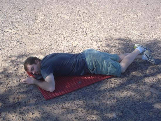 Petite sieste sur les plaques de désensablage, au PK 150